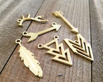 Aztec Charms Gold Charms Charm Set Assorted Charms Gold Pendants Aztec Pendants Arrow Charms Chevron Charms Antler Charm Feather Charm PRE