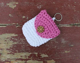 Crochet Pouch White Pink - keys earplug holder