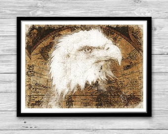 Bald eagle print, Eagle Art Print, National bird wall art,  Archival art print with style of old geographic maps, Bald Eagle wall hanging