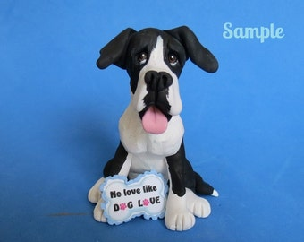 Great Dane dog sculpture Mantle Color black and white with natural ears Polymer Clay art by Sally's Bits of Clay hand sculpted figurine