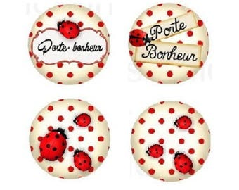 16mm, 4 cabochon ladybirds