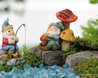 Fairy Garden Gnome, Miniature Garden Sleeping Gnome, Fishing Gnome, Fairy  Garden Miniatures Accessories, Mini Supply, Gnome Garden Decor