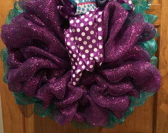 Deco Mesh any occasion Purple and Teal Wreath
