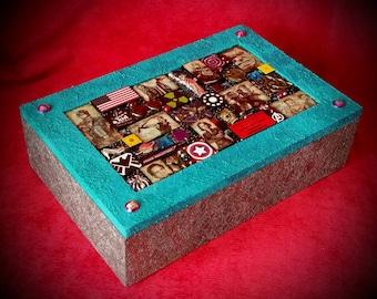 Avengers Box - Mosaic, Hulk, Black Widow, Captain America, Iron Man, Nick Fury, Hawkeye, Thor, Loki, Shield. Marvel jewellery box