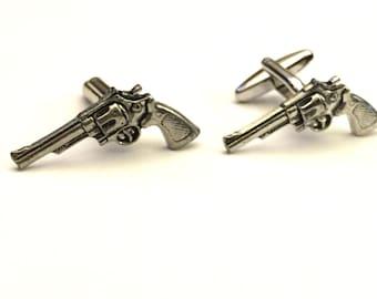 Gun Cufflinks, Revolver Cufflinks, Pistol Cufflinks, Men's Cuff Links, Wedding Cuff Links, Father's Day, Graduation Gift