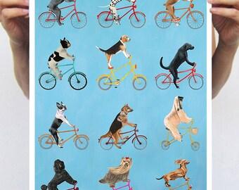 Perros impresión, imprimir bicicleta, ciclismo, perro, perro en bicicleta, perro pintura, bicicleta, Ilustración de perro, Ilustración de bicicleta, bicicleta arte
