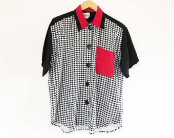 Mirrors | Vintage 1980's Red, Black, and White Houndstooth Print, Short Sleeved, Button Down Blouse / 3 Color Blouse / Colorblock Shirt