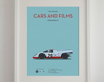 Le Mans car movie poster, art print A3 Cars And Films, home decor prints, illustration print. Car print