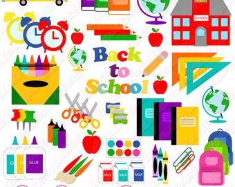 80% OFF SALE Back to School clipart, Back to School, clip art, school clip art, school supplies clipart, school, student clipart