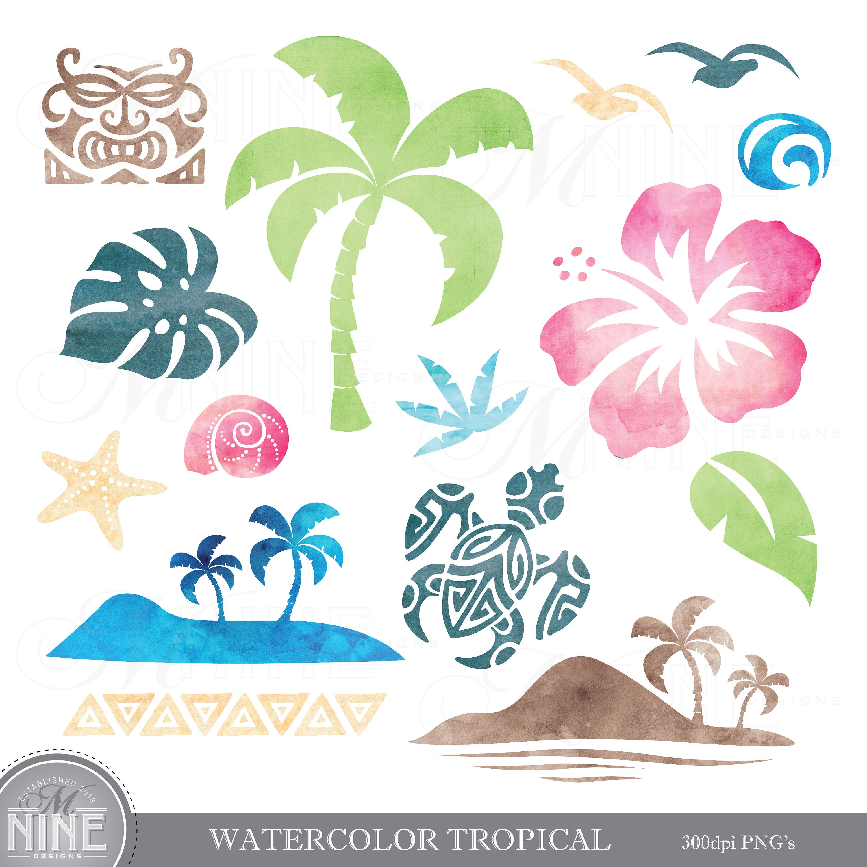 Watercolor TROPICAL Clipart / Watercolor LUAU Clip Art