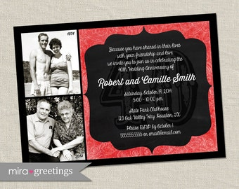 40th Anniversary Invitation - Ruby Red Wedding Anniversary Party Invite - Chalkboard wedding anniversary invitation (Printable Digital File)