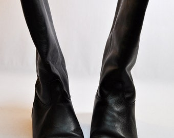 NOS Vintage Black Leather Flat Pixie Riding Boots