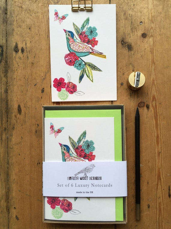 Bird notecards-set of 6- boxed