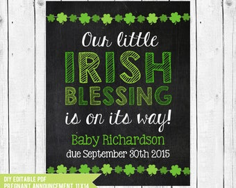 Irish Blessing, St Patricks Day pregnancy announcement, St Patricks Baby Announcement, St Patricks Day photo prop, DIY edit w/ADOBE READER