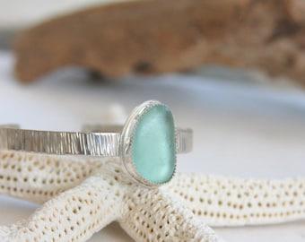 Sea glass cuff bracelet, sterling silver cuff bracelet, cuff bracelet, sea glass, sea foam sea glass, everyday jewelry, sea glass jewelry