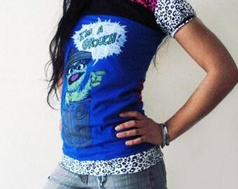 OOAK Reconstructed T-shirt - Oscar the Grouch - Kezbirdie