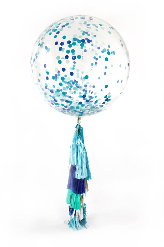 "36"" Under The Sea Balloon, Giant Clear Balloon, Confetti Balloon, Tassel Balloon, First Birthday Baby Shower Wedding Ocean Decor Nautical"