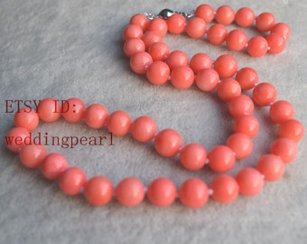 pink coral necklace ,18 inches 6mm or 7.5mm or 8mm or 10mm round coral necklace, single strand pink bead necklace, real dyed coral necklace