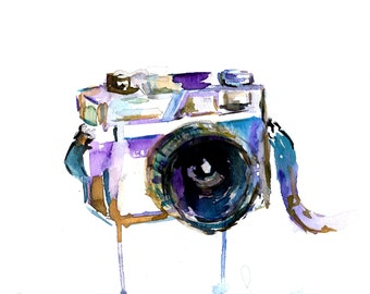 I Turn My Camera On by Jessica Buhman 8 x 10 print of original watercolor painting, Photography Camera Painting