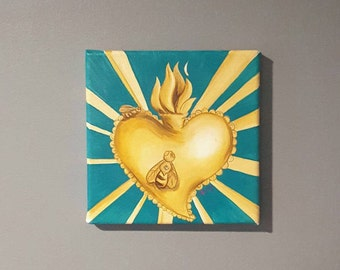 Gold Honeybee Sacred Heart acrylic painting ORIGINAL
