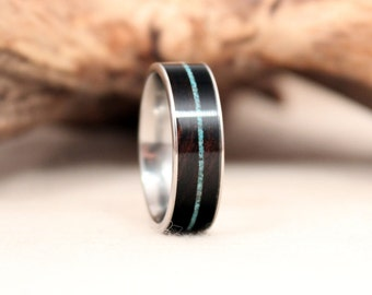 Mun Ebony Wood Ring Titanium Ring