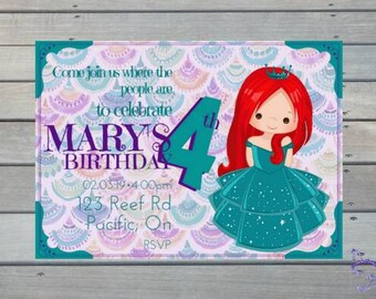 Mermaid downloadable etsy princess little mermaid ariel cute personalized downloadable print yourself birthday invitation solutioingenieria Images