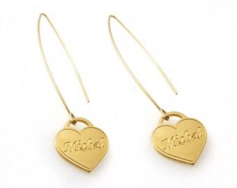 Name Earrings. Monogram Earrings. Gold Earrings. Personalized Earring. Alphabet Earring. Drop Earring. Name heart Earring. Heart.