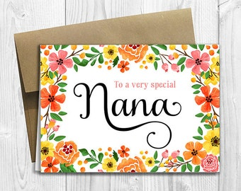 Nana birthday card etsy to a very special nana mothers day birthday any occasion 5x7 printed bookmarktalkfo Image collections