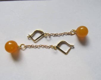 Amber Earrings Bar round beads Natural Baltic 3.2 g. yellow egg yolk butterscotch opaque polished, gold color chain, french clasp adult