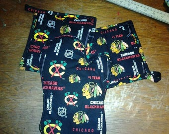 Custom Handmade, Chicago Blackhawks Cooking Accessories. Adult & Kids. Potholders/ Apron/ Oven Mitt/ Chef Hat. Guy Gift. Team Mom Gift.