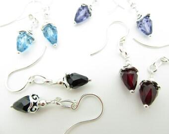 Handmade Swarovski Crystal Earrings in Sterling Silver Blue Red Black Purple