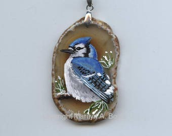 HAND PAINTED AGATE; pendant/tree ornament,smokey amber agate,original art,miniature painting, one of a kind, blue jay, nature, backyard bird