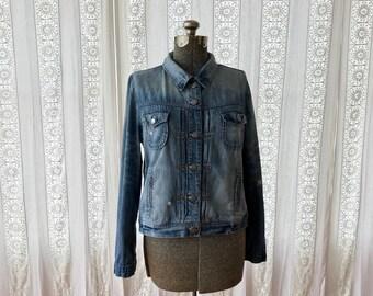 Destroyed denim jacket // Broken in boyfriend jean jacket