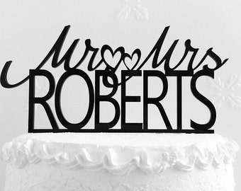 Mr and Mrs Roberts Wedding Cake Topper, Personalized with Last Name