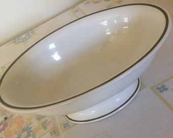 George Jones & Sons (Crescent - England) Oval White Pedestal Serving Dish with Green Stripe
