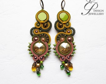 Long soutache earring with swarovski crystal