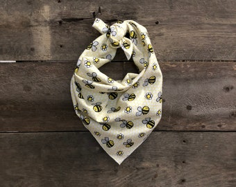 Yellow Daisy & Bumblebee Tie On Dog Bandana