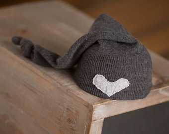 Newborn Hat, Gray Newborn Hat, Upcycled Newborn Hat, Newborn Boy Hat, Neutral Newborn Hat, Newborn Photography Prop, Photo Prop, Knot Hat