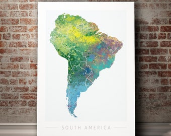 South America Map - Continental Map of South America - Art Print Watercolor Illustration Wall Art Home Decor Gift - Nature Series PRINT