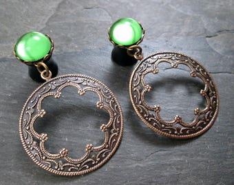 """Dangle Plugs - 00g 10mm - 1/2"""" 12mm - Antiqued Brass - Filigree Plugs - Hoop Gauges - Tribal Plugs - Wedding Gauges - Plug Earrings"""