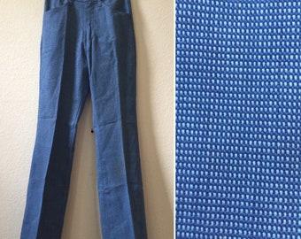 Child size, 1970s pants, blue pants, kids pants, size 10 12, boys pants, vintage pants, funky pants, disco pants, knit pants, Mann pants,