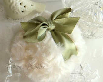 Green and Ivory Powder Puff -  olive green and cream plush - gift box option - handmade by Bonny Bubbles