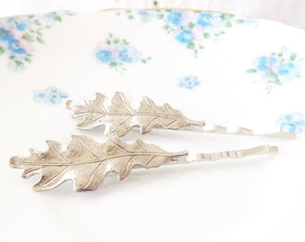 Ox Silver Oak Leaf Bobby Pin Set - Oak Leaf Hair Pins - Oak Leaf - Woodland Hair Pins - Whimsical - Nature - Bridal