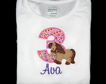 Custom Personalized Applique Birthday Number Minky HORSE and NAME Shirt or Bodysuit - Lt Pink, Purple, and Brown