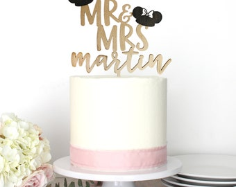 Personalized Modern Mickey Minnie Mouse Disney Inspired Wedding Cake Topper | Custom Name