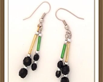 Handmade MWL green, black and gold earrings. 0103