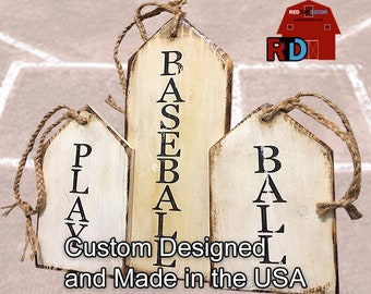 Handmade Rustic Play Ball Baseball Tags built and hand painted by BJ and Bailey at RedTop Decor