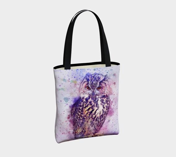 colorful watercolor owl tote bag