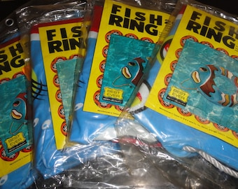 """Set Of 4 Retro Best Ever Best Quality 20"""" X 29"""" Super Laminated Vinyl Fish Ring Water Toy Still In The Original Packaging"""