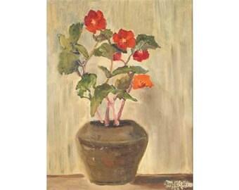 RACHEL CLAY 1965, 60s oil painting, flower painting, still life painting, floral theme art, pot plant art,